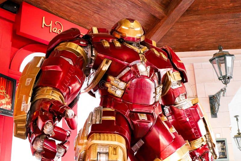 Traje de Buster Iron Man do casco no museu da senhora Tussauds imagem de stock