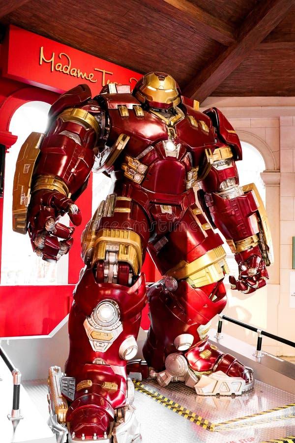 Traje de Buster Iron Man do casco no museu da senhora Tussauds foto de stock