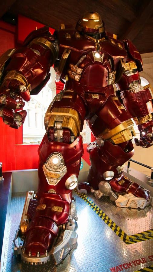 Traje de Buster Iron Man do casco no museu da senhora Tussauds fotografia de stock