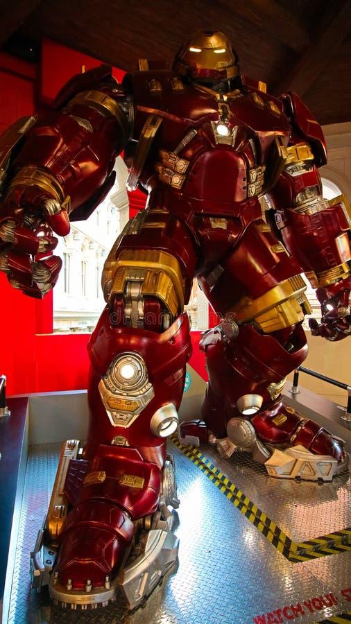 Traje de Buster Iron Man do casco no museu da senhora Tussauds fotos de stock
