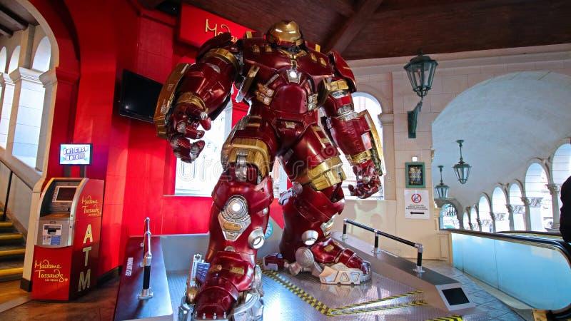 Traje de Buster Iron Man do casco no museu da senhora Tussauds imagens de stock