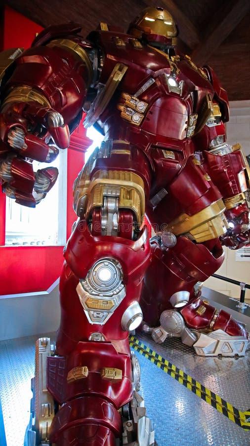 Traje de Buster Iron Man do casco no museu da senhora Tussauds fotos de stock royalty free