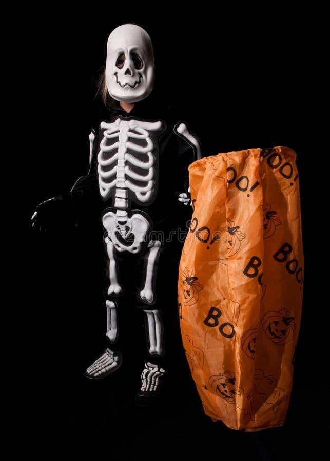 Traje de esqueleto de Halloween imagem de stock
