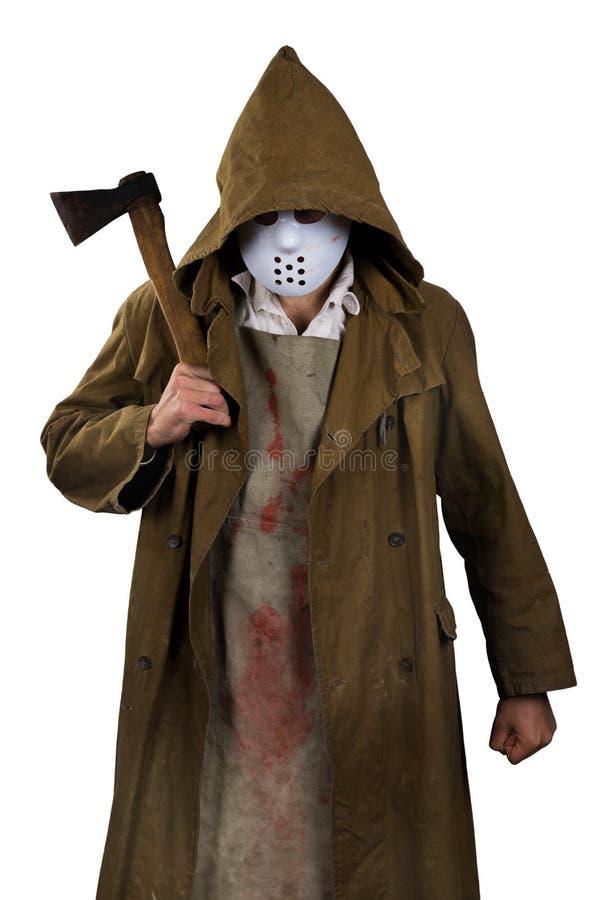 Traje de Halloween - asesino psico con el delantal sangriento y hacha en hola imagen de archivo libre de regalías