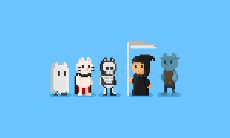 Traje de Halloween del desgaste de los gatos del pixel carácter 8bit libre illustration