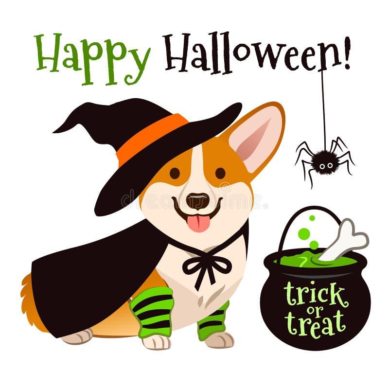 Traje de la bruja del perro de perrito del corgi de Halloween que lleva con el sombrero negro a libre illustration