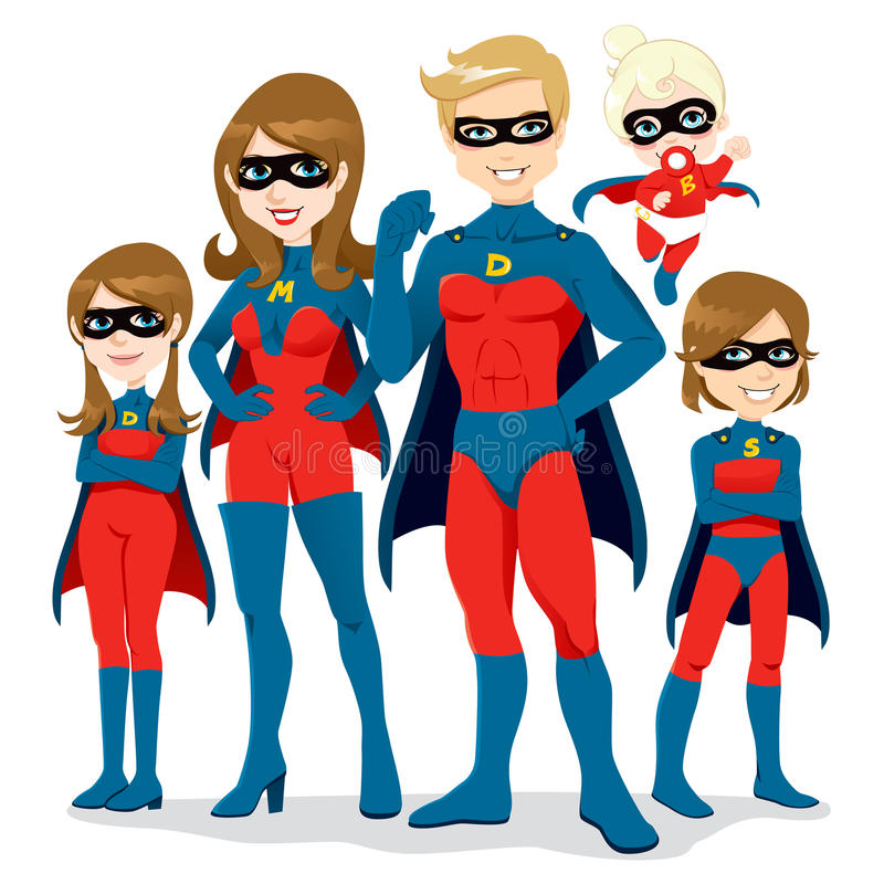 Traje de la familia del super héroe ilustración del vector