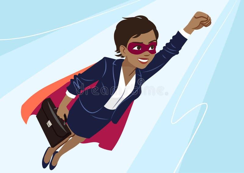 Traje de negocios que lleva de la mujer afroamericana joven del super héroe y ilustración del vector