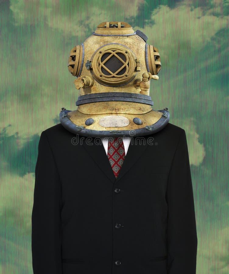 Traje de negocios surrealista, casco que se zambulle fotos de archivo