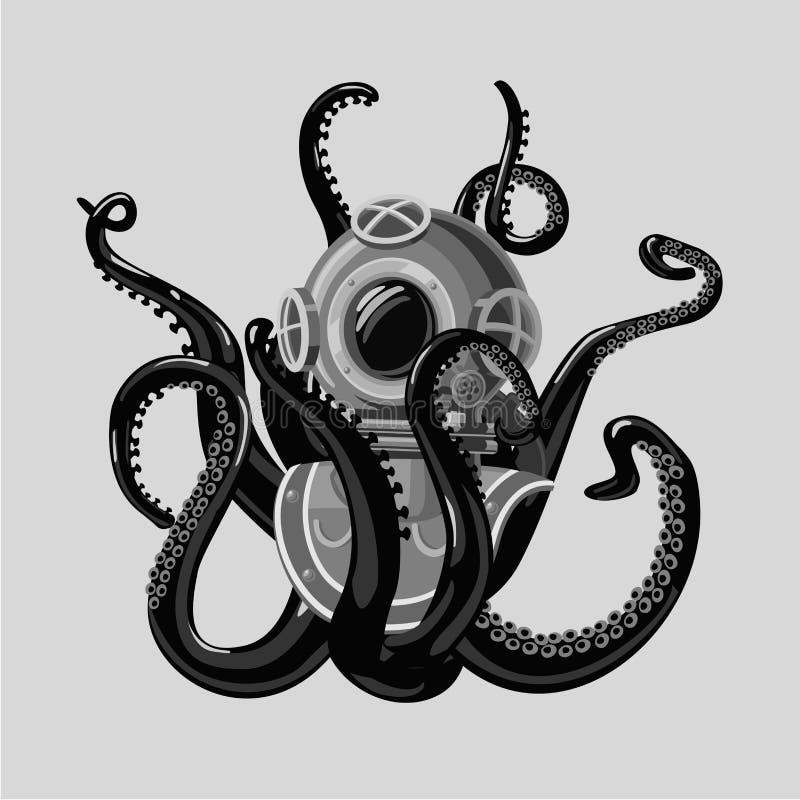 Traje de salto del vintage con el pulpo Casco y tentáculos retros del equipo de submarinismo Estilo del tatuaje stock de ilustración