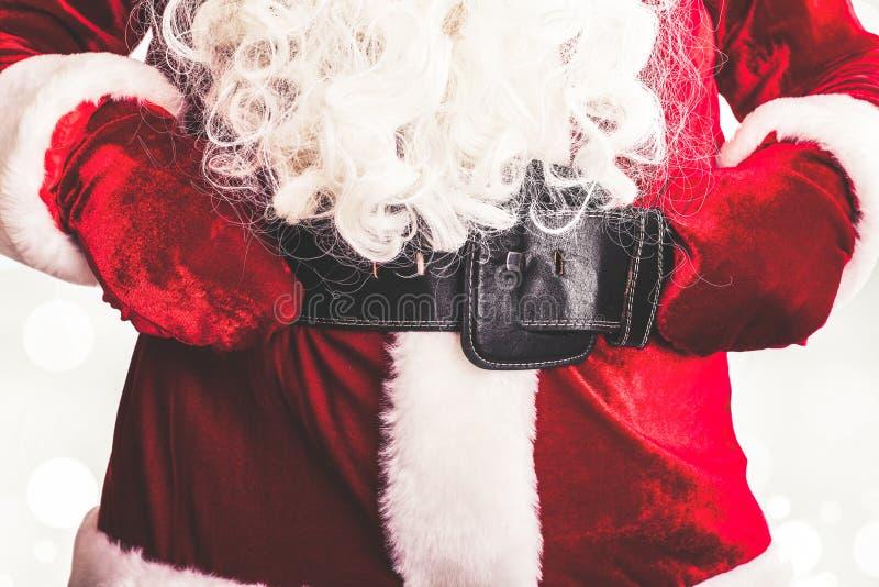 Traje de Santa Claus com correia e curvatura foto de stock royalty free