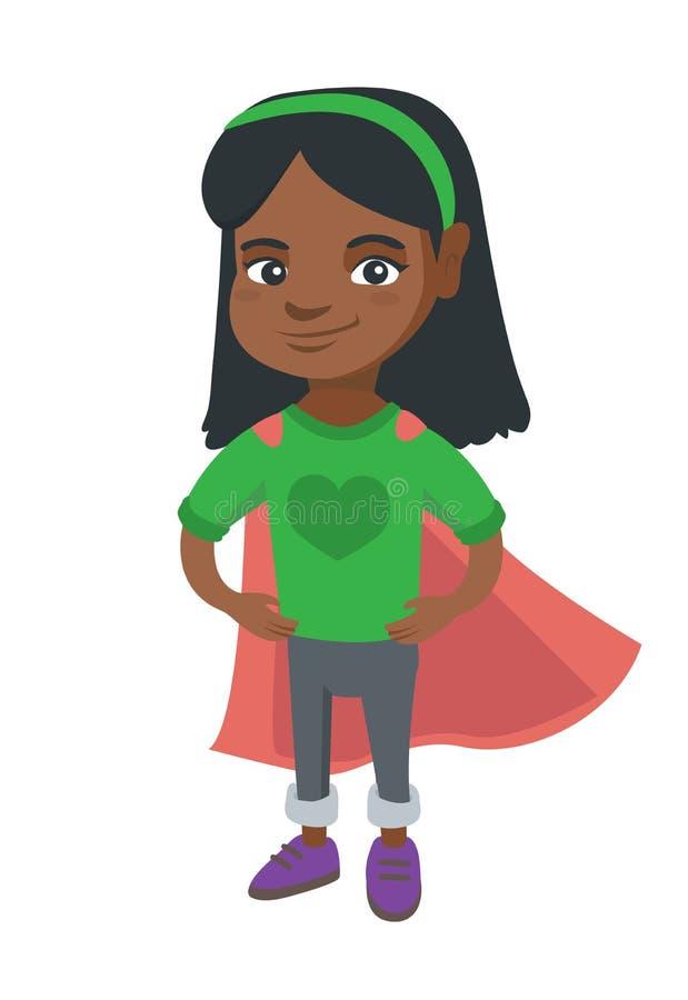 Traje del super héroe de la muchacha valiente del africano que lleva libre illustration