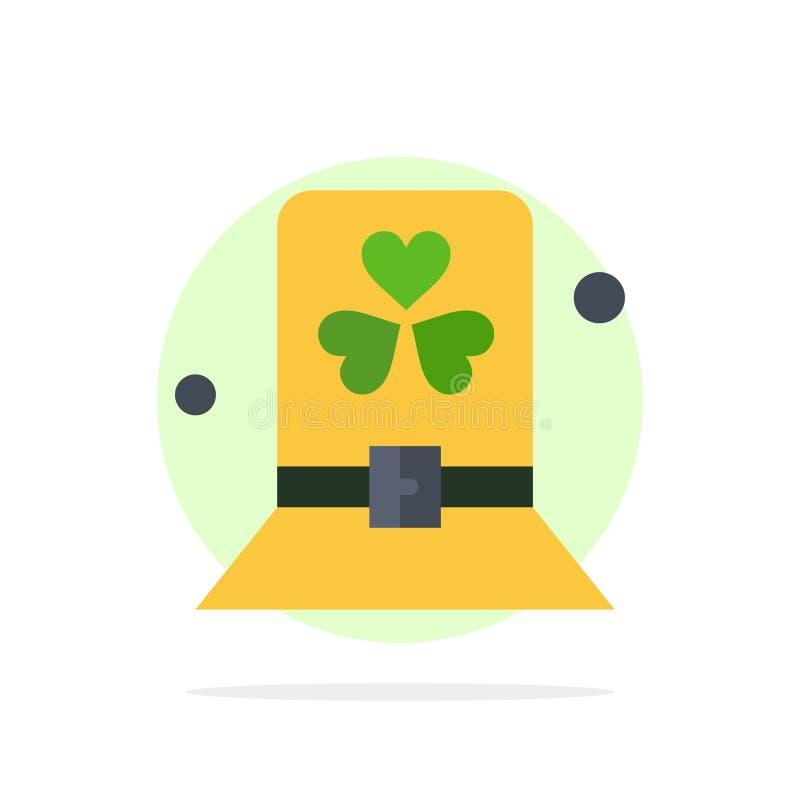 Traje, dia, verde, chapéu, ícone da cor de Patrick Abstract Circle Background Flat ilustração royalty free