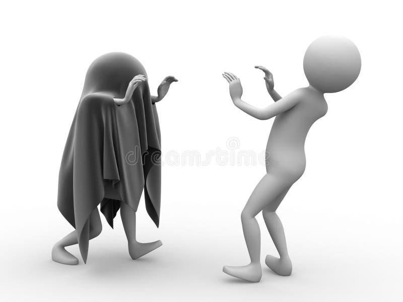 Traje do fantasma que scaring o homem ilustração do vetor