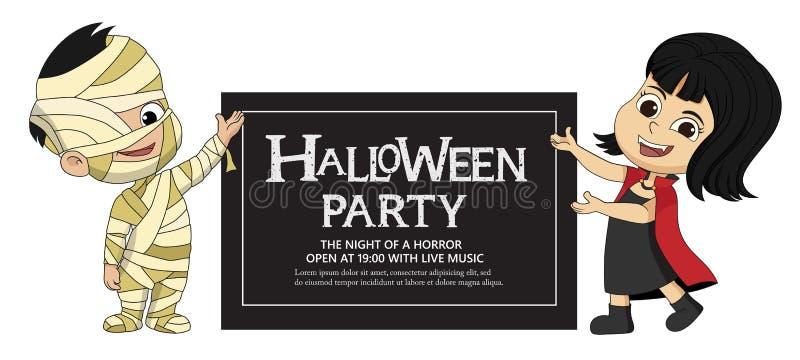 Traje do ` s Dia das Bruxas das crianças que mostra o cartão do partido do Dia das Bruxas ilustração do vetor