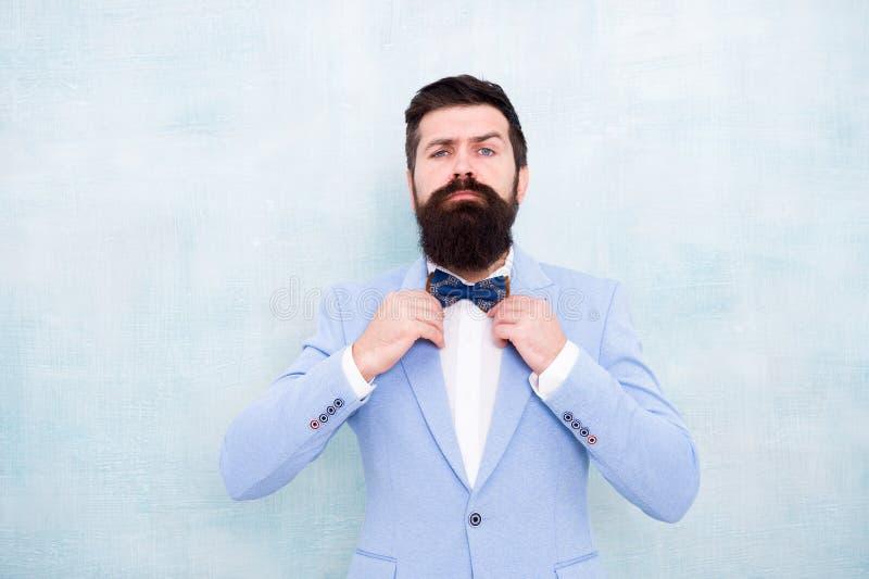 Traje formal del inconformista barbudo del hombre con la corbata de lazo Casarse la moda Equipo perfecto del estilo formal Novio  fotos de archivo libres de regalías