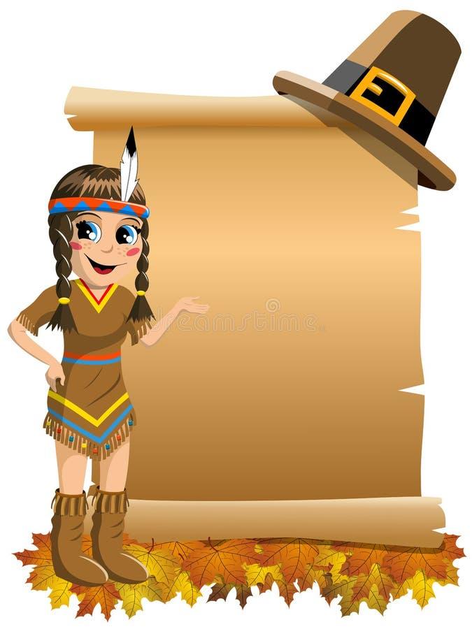 Traje indiano do nativo americano da menina que apresenta o rolo vazio ilustração do vetor