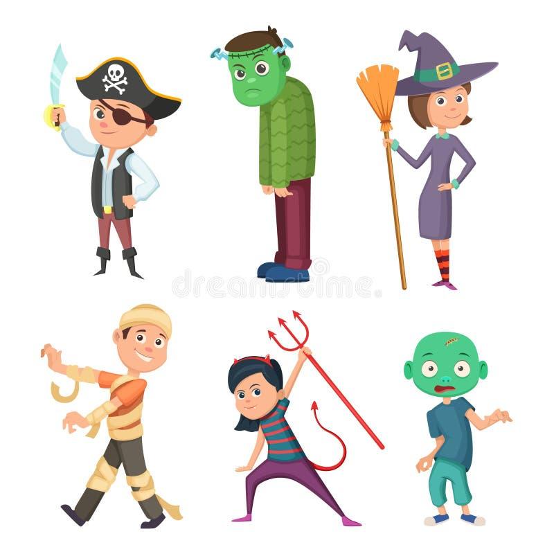 Traje lindo y asustadizo de la historieta de Halloween para los niños Zombi, pirata, diablo y otros ilustración del vector