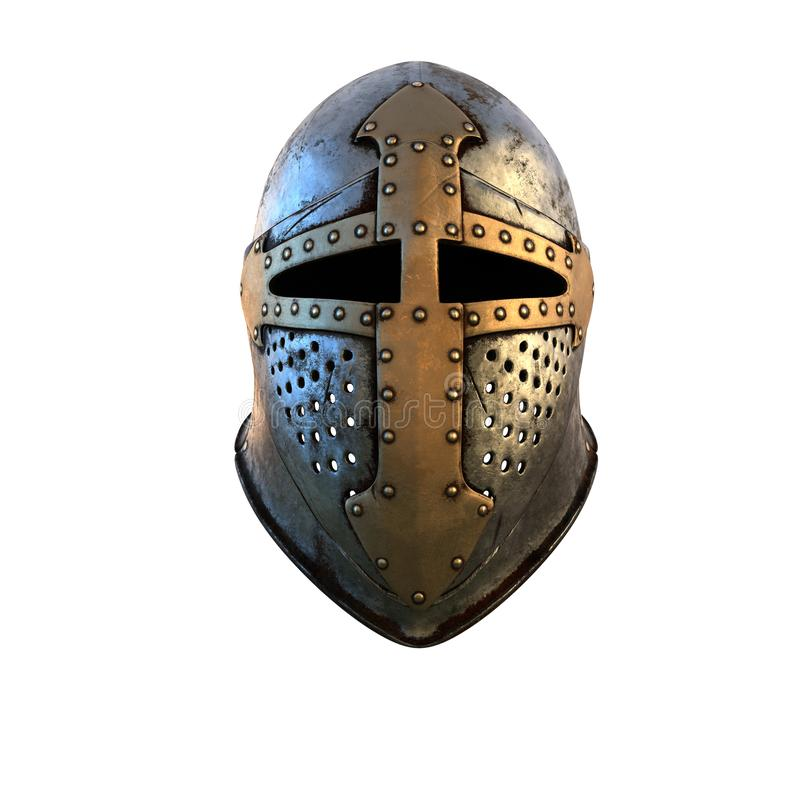 Traje medieval del casco del aislamiento de la armadura en un ejemplo blanco del fondo 3d foto de archivo