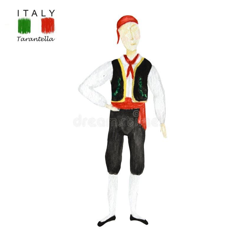 Traje nacional que baila una tarantela italiana en el fondo blanco Bailarín del hombre en el traje popular negro rojo Italia stock de ilustración