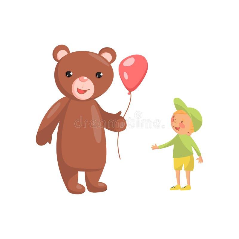 Traje o caráter do urso com balão vermelho e ilustração bonito do vetor dos desenhos animados do rapaz pequeno ilustração royalty free