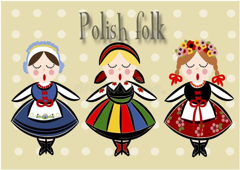 Traje polonês tradicional - vetor. ilustração stock