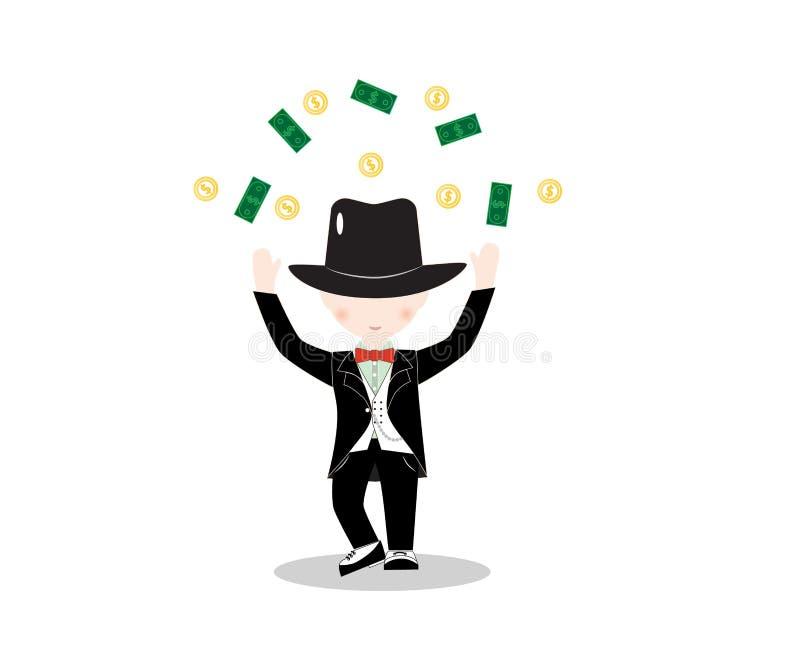 Traje que lleva del niño pequeño de la historieta y sombrero de copa negro con el dinero stock de ilustración
