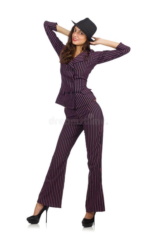 Traje rayado que lleva de la mujer aislado en blanco foto de archivo libre de regalías