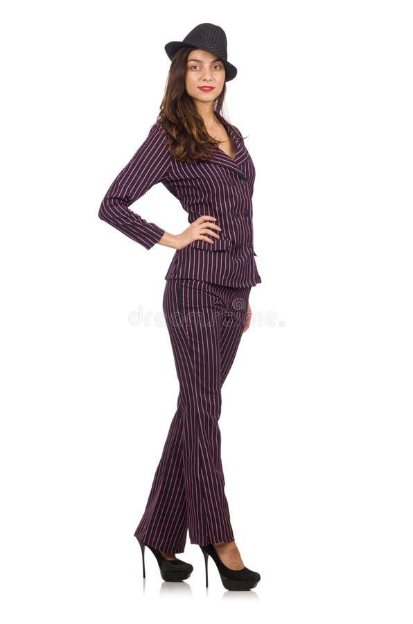 Traje rayado que lleva de la mujer aislado en blanco fotografía de archivo libre de regalías