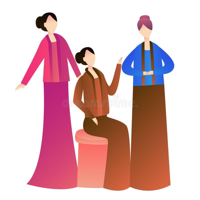 Traje tradicional vestindo do kebaya da mulher das meninas de Indonésia junto com seus amigos ilustração royalty free