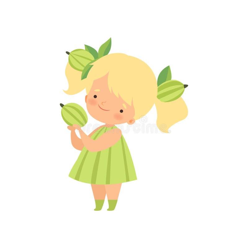 Traje vestindo da groselha da menina loura bonito, personagem de banda desenhada adorável da criança no vetor da roupa do carnava ilustração do vetor