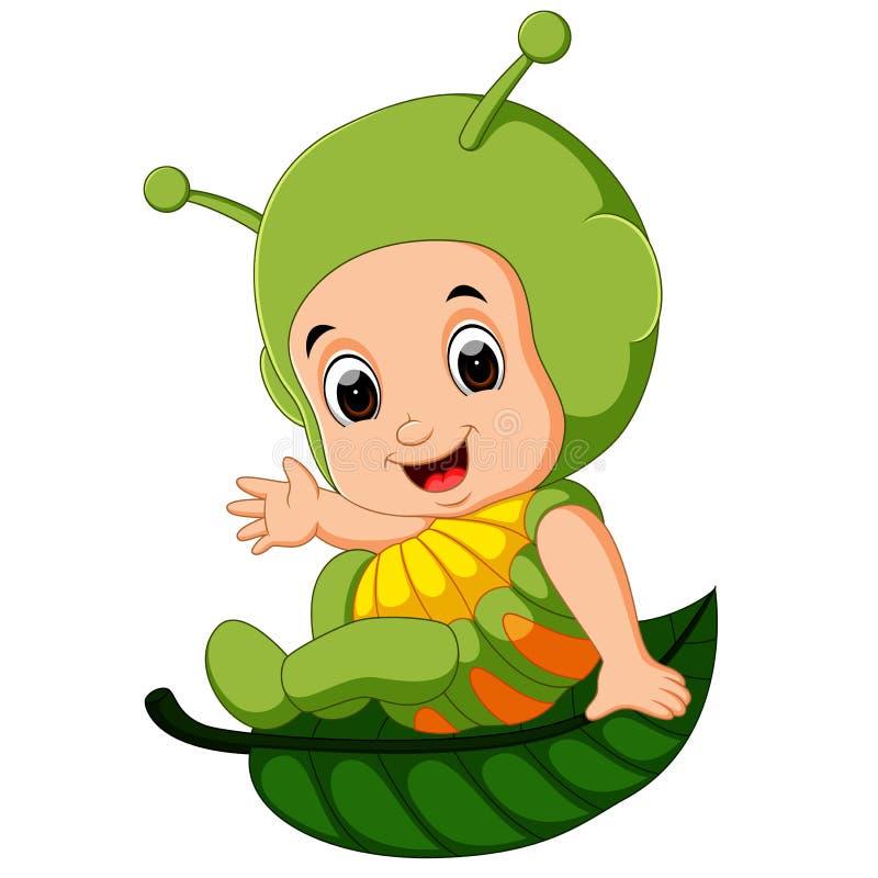 Traje vestindo da lagarta dos desenhos animados bonitos das crianças ilustração do vetor