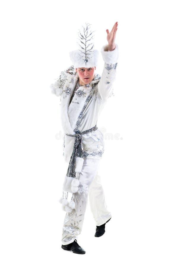 Traje vestindo do floco de neve do carnaval do homem do dançarino fotos de stock