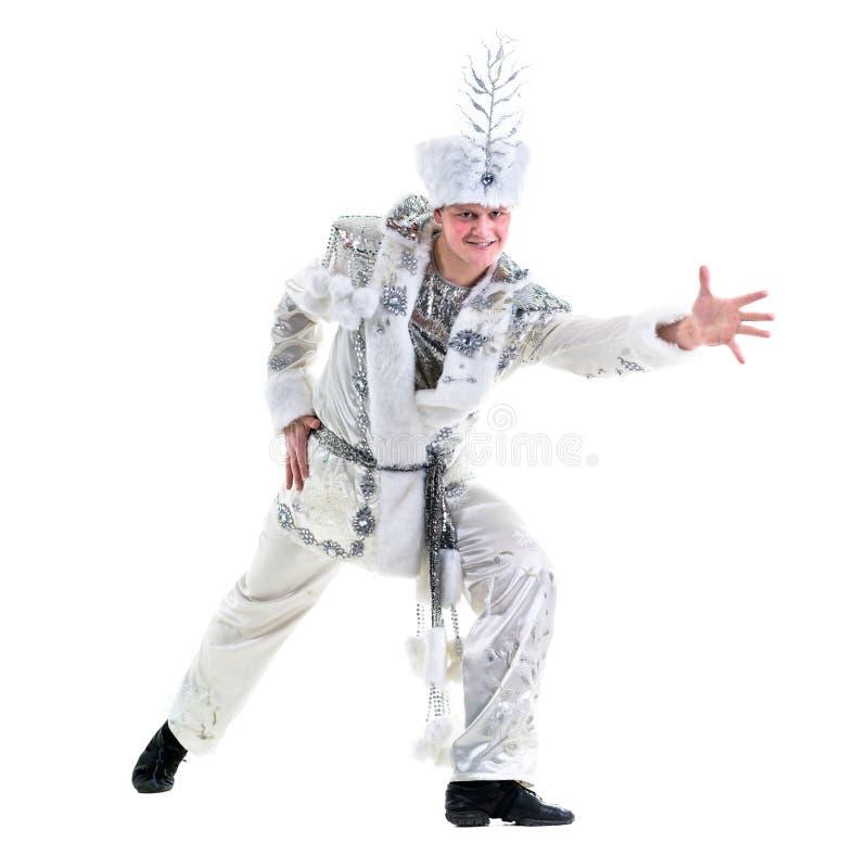 Traje vestindo do floco de neve do carnaval do homem do dançarino imagem de stock royalty free