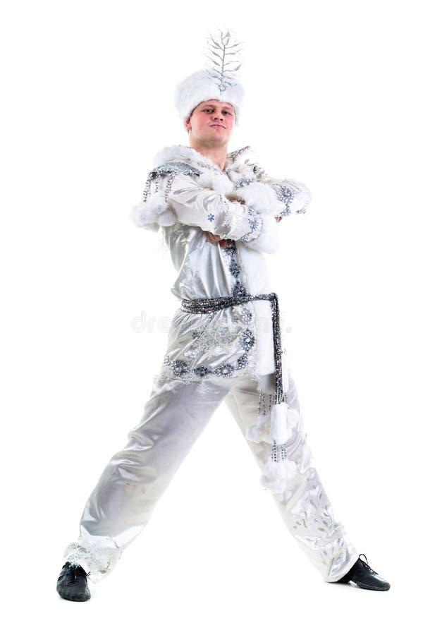 Traje vestindo do floco de neve do carnaval do homem do dançarino fotografia de stock