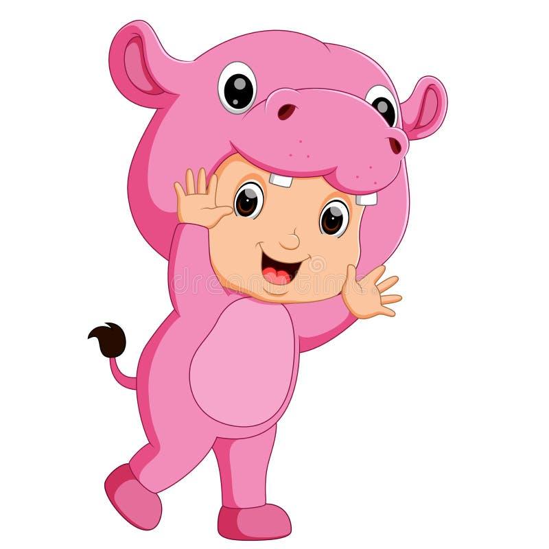 Traje vestindo do hipopótamo dos desenhos animados bonitos do menino ilustração royalty free