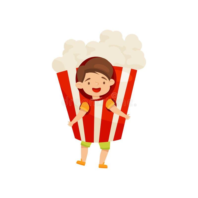 Traje vestindo do milho de PNF do rapaz pequeno alegre Criança engraçada Criança com cara feliz Projeto liso do vetor ilustração stock