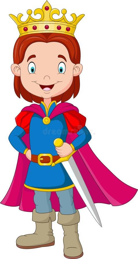 Traje vestindo do príncipe do menino dos desenhos animados ilustração royalty free