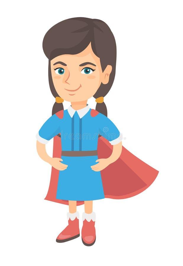 Traje vestindo do super-herói da menina corajoso caucasiano ilustração royalty free