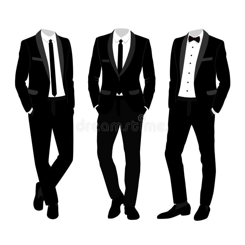 Traje y smoking del ` s de los hombres de la boda colección libre illustration