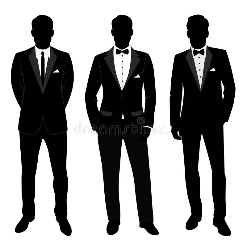 Traje y smoking del ` s de los hombres de la boda colección El novio ilustración del vector