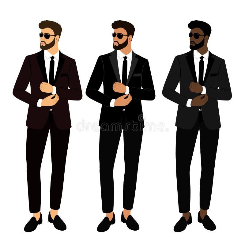 Traje y smoking del ` s de los hombres de la boda colección El novio Caballero ilustración del vector