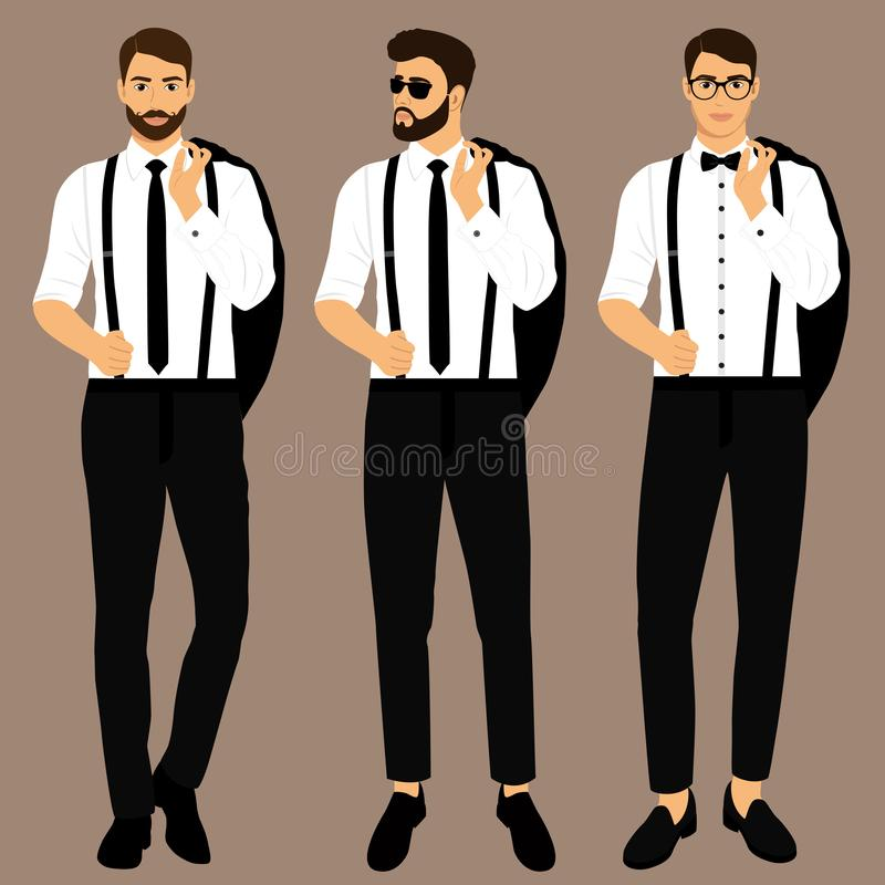 Traje y smoking del ` s de los hombres de la boda colección El novio Caballero libre illustration