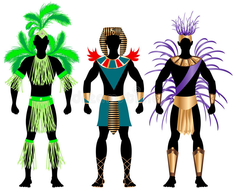 Trajes masculinos 2 do carnaval ilustração do vetor