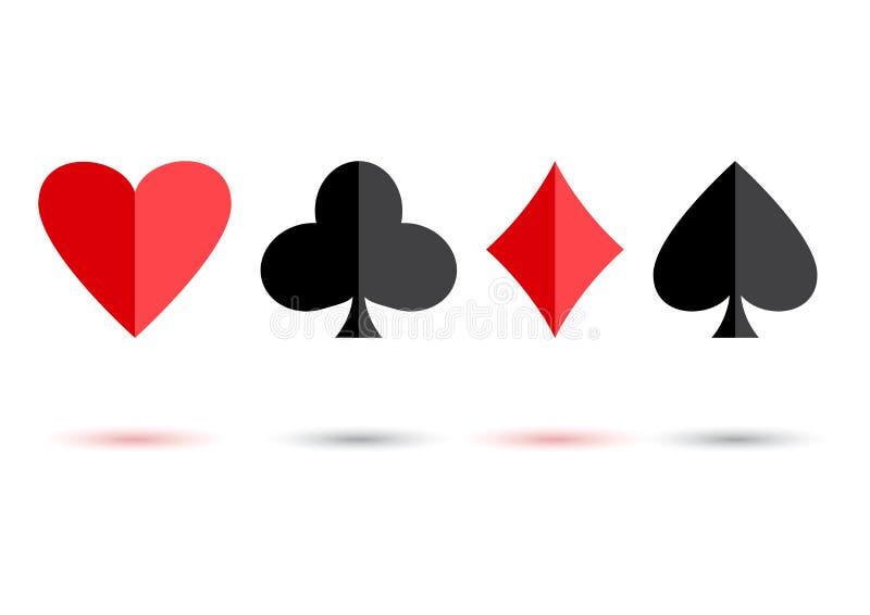 Trajes rojos y negros de la tarjeta del póker: corazones, clubs, espadas y diamantes con la sombra coloreada Ilustraci?n del vect ilustración del vector