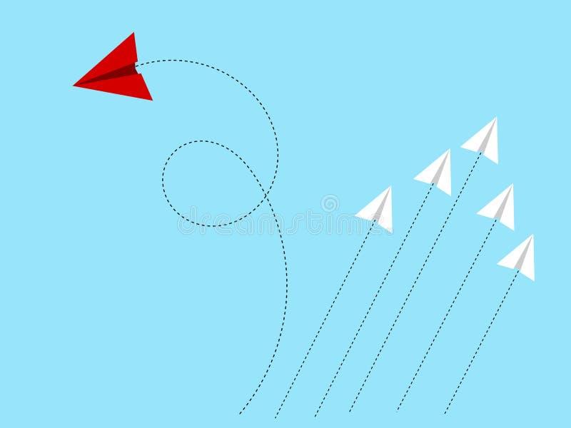 Trajetória em mudança do avião de papel que sae do grupo para seguir sua rota Pensamento fora do conceito da caixa ilustração royalty free