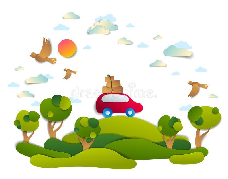 Trajet en voiture et tourisme, monospace rouge avec le bagage montant la route illustration libre de droits