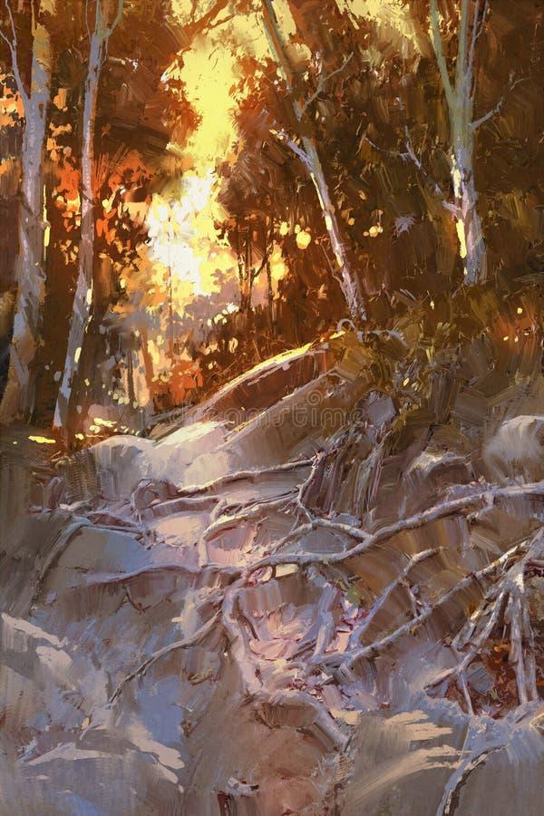 Trajeto coberto com as raizes da árvore na floresta ilustração royalty free