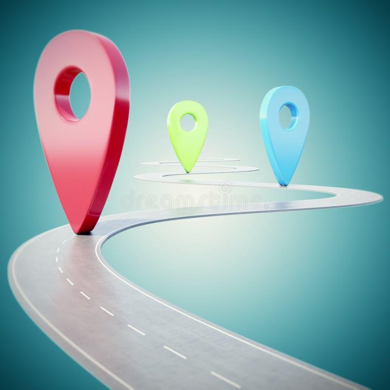 Trajeto da estrada que vai para a frente no fundo azul com o ponteiro colorido do pino ilustração 3D ilustração do vetor