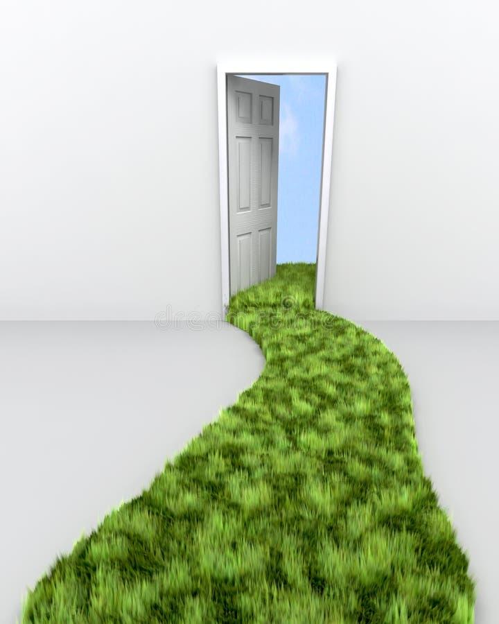 Trajeto da grama que conduz à entrada ilustração stock